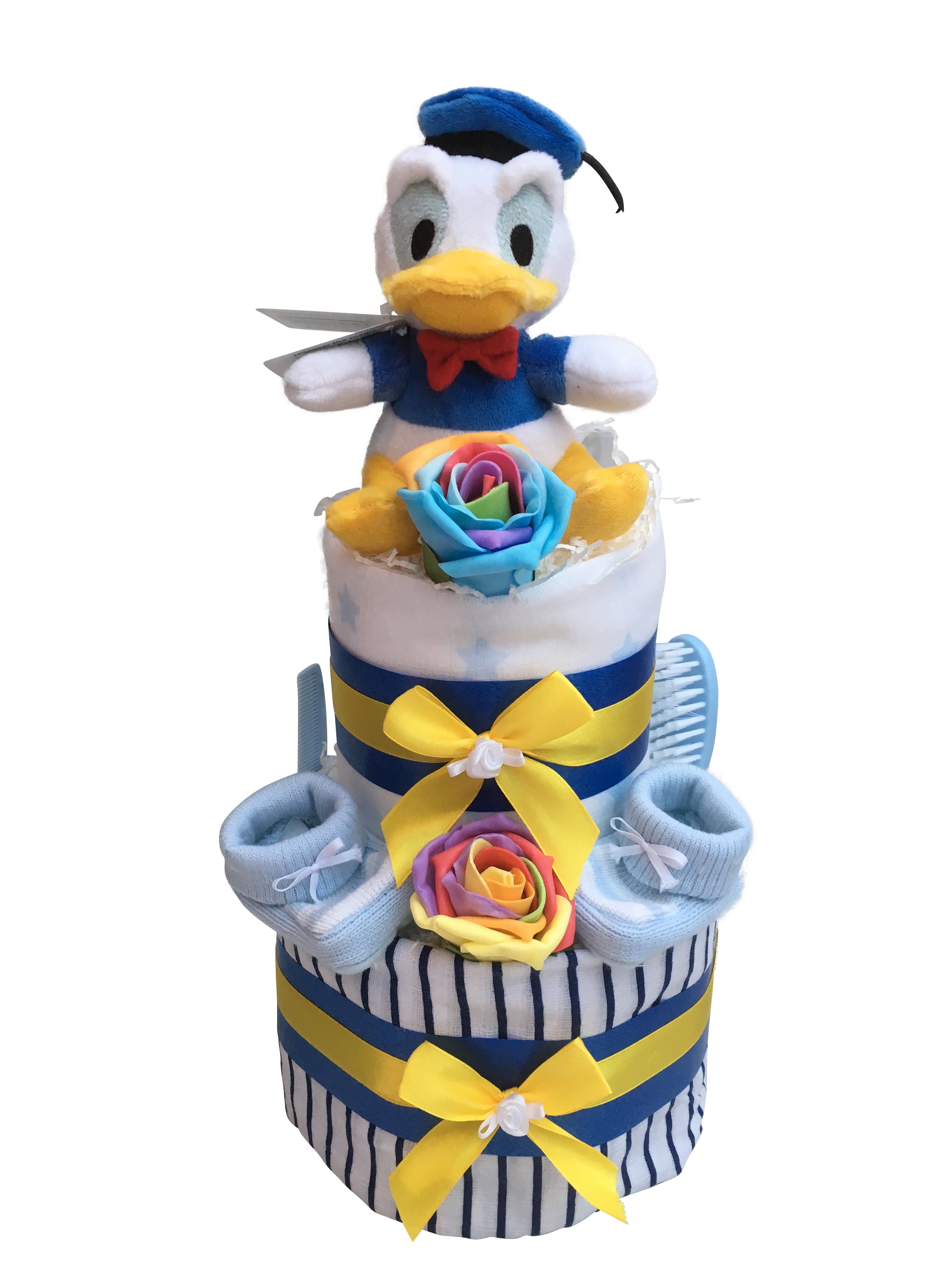 Surprising 2 Tier Nappy Cake Donald Duck Baby Gift Truly Gifts Uk Funny Birthday Cards Online Elaedamsfinfo